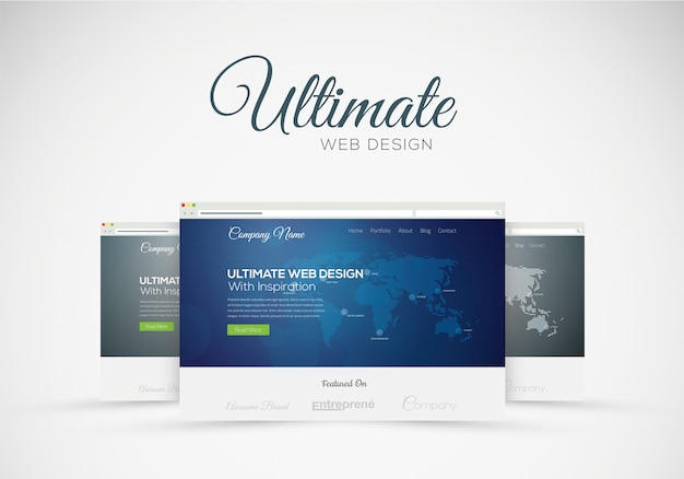 Website design showcase in web browser vector concept