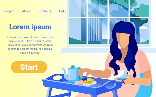 Website design with illustration of woman at dinner time