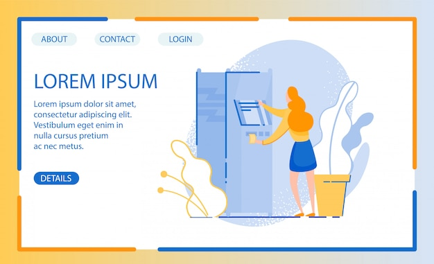 Website design with illustration of woman in need cash, turning to automatic terminal
