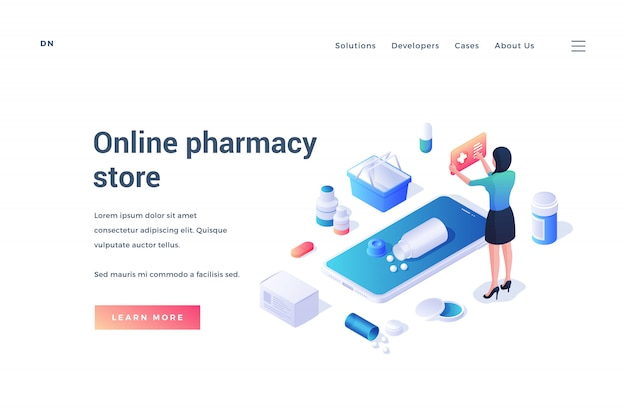 Website design with online pharmacy store app on white background