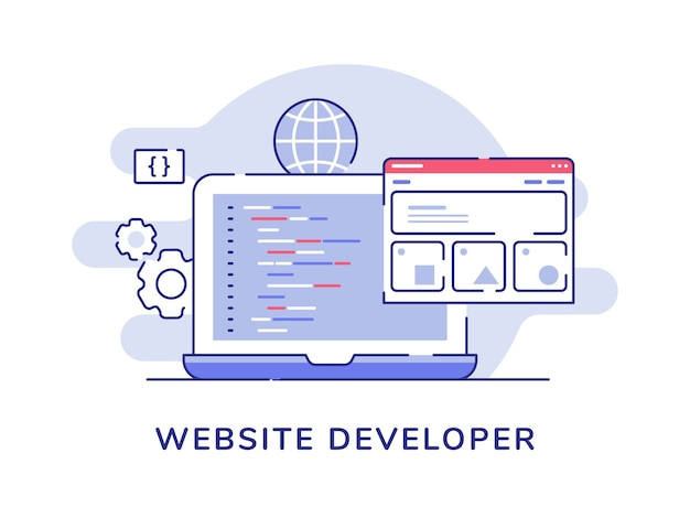 Website developer concept code coding wireframe on display laptop monitor with flat outline style