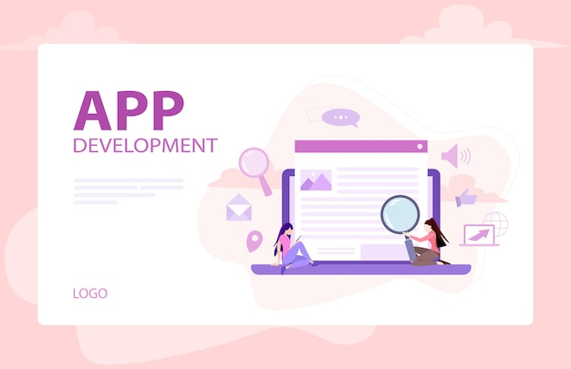 Website development banner. web page programming and making responsive interface on computer.  illustration