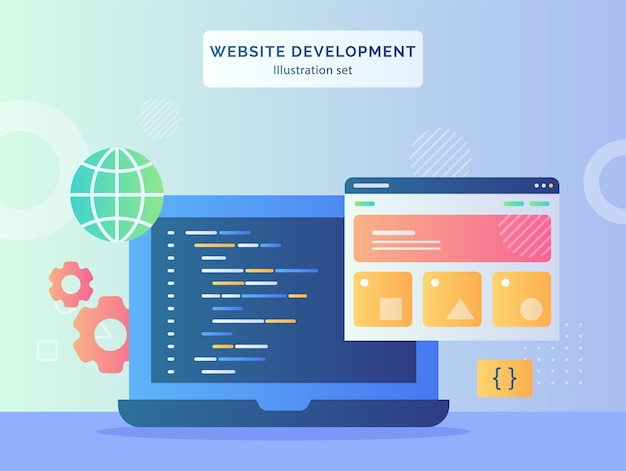 Website development illustration set wire frame language program coding on display monitor laptop background of gear globe with flat style design.