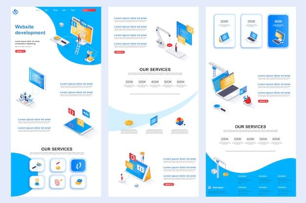 Разработка веб-сайта изометрический шаблон веб-сайта, средний контент и нижний колонтитул целевой страницы