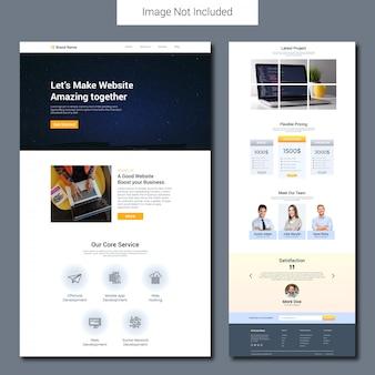 Website development landing page template
