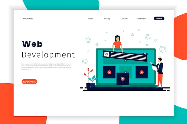 Website development landing page templates with people