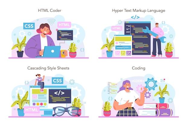 ウェブサイト開発セット。 htmlコーディングプロセス。デジタルスペシャリスト