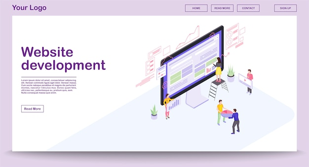 Website development webpage template with isometric illustration