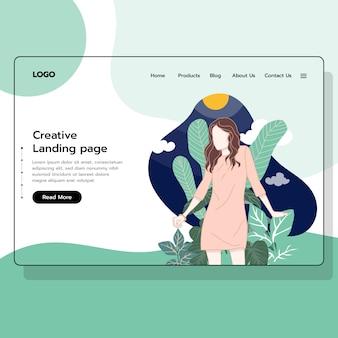 ウェブサイトのeコマース、女性スタイルのショッピング、ランディングページ