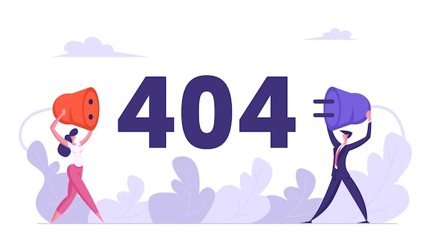 Website error 404 page with business characters holding wire plug socket illustration
