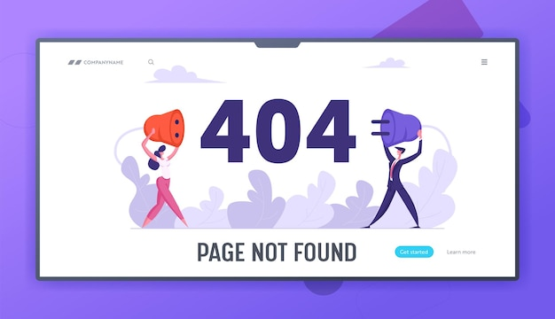 Website error 404 page with business concept landing page set