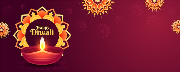 Website header or banner decorated with mandala pattern and illuminated oil lamp (diya) for happy diwali celebration.