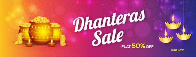 Website header or banner design for dhanteras sale.
