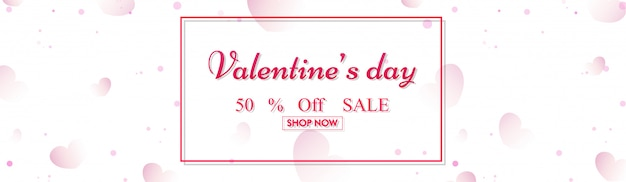 Website header or banner design with 50% discount offer for vale