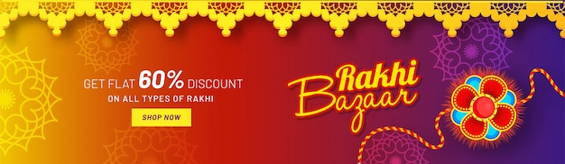 Website header or banner design with 60% discount offer and beautiful rakhi (wristband) for rakhi bazaar sale.