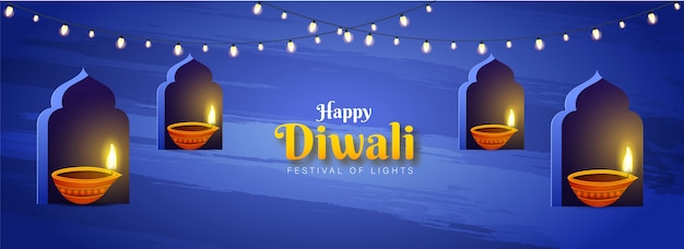 Website header or banner design with illuminated oil lamps (diya) on window arch for festival of lights, happy diwali celebration.