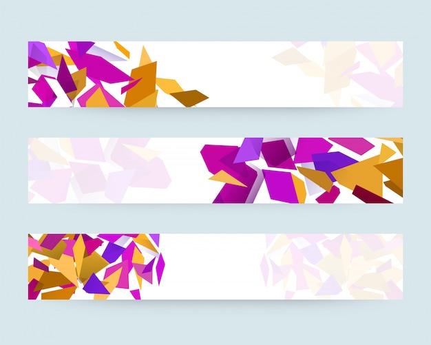 Sito web o set di banner decorato con elementi geometrici astratti colorati.