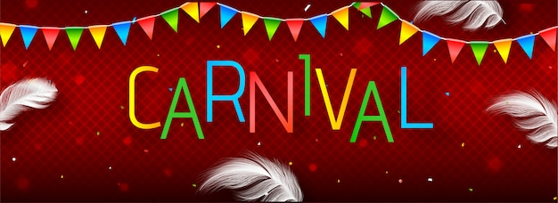 Website header or banner  with colorful text carnival.