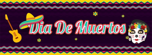 Website header or banner  with dia de muertos text with sugar skull or calavera, guitar and sombrero hat on purple wavy striped .