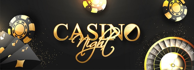 Website header or banner  with golden text casino night.