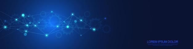 추상적인 기하학적 배경과 연결 점과 선이 있는 웹 사이트 헤더 또는 배너 디자인. 글로벌 네트워크 연결. 신경총 배경과 텍스트를 위한 공간이 있는 디지털 기술.
