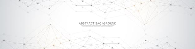 Заголовок веб-сайта или дизайн баннера с абстрактным геометрическим фоном и соединительными точками и линиями. подключение к глобальной сети. цифровая технология с фоном сплетения и пространством для вашего текста.