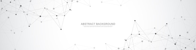 추상적 인 기하학적 배경과 연결 점과 선이있는 웹 사이트 헤더 또는 배너 디자인.