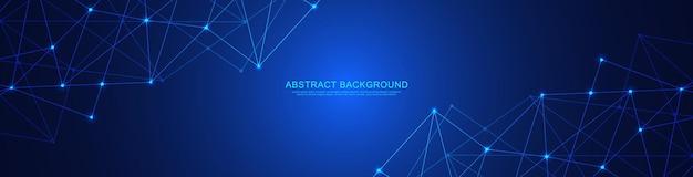 Заголовок веб-сайта или дизайн баннера с абстрактным геометрическим фоном и соединительными точками и линиями.