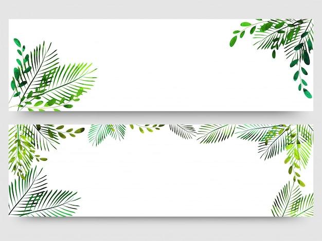 Заголовок сайта или баннер с яркими зелеными листьями.
