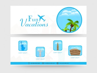 Website header or banner set with illustration of famous monuments� for Tour and Travel concept.