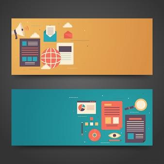 Website headers or banners design with infographics design. Premium Vector
