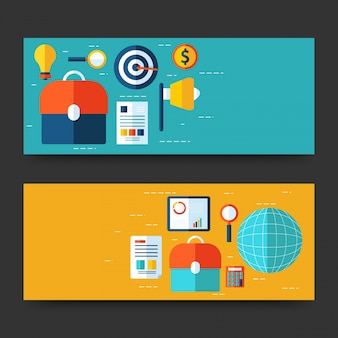 Website headers or banners design with infographics design.