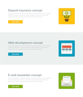Website headers or promotion banners templates and flat icons design.