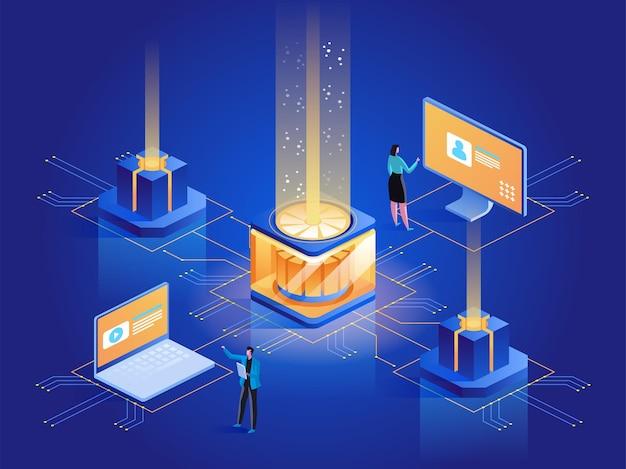 웹사이트 호스팅 추상 아이소메트릭 그림입니다. 시스템 관리자, 데이터 센터 엔지니어 3d 만화 캐릭터. 인터넷 사이트 개발, 유지 관리 및 지원 서비스 진한 파란색 개념