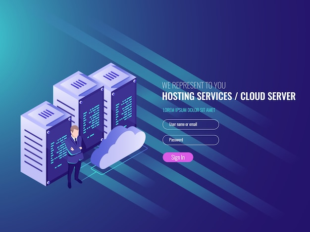 Website hosting isometric, cryptocurrency and blockchain concept.