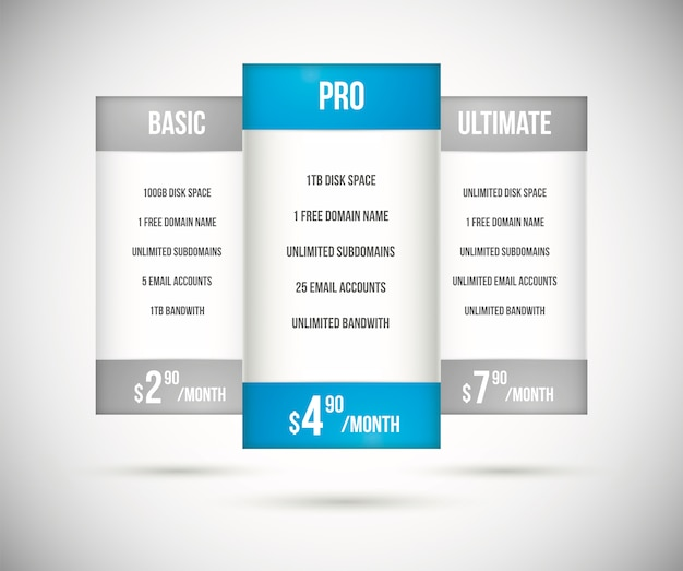 Website hosting plan pricing tables vector
