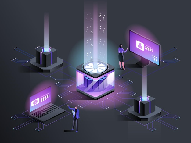 웹사이트 호스팅 서비스 아이소메트릭 그림입니다. 데이터 센터 관리자, 엔지니어 3d 만화 캐릭터. 인터넷 사이트 개발, 유지 관리 및 기술 지원 진한 파란색 개념