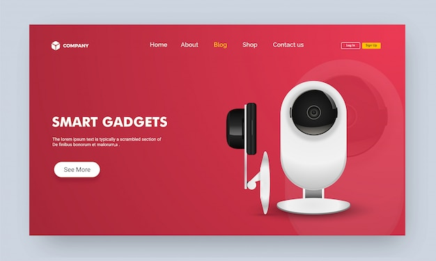 Website image or landing page with smart gadget.