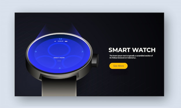 Website image or landing page with smart watch.