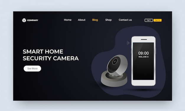 Website image or landing page with smartphone and voice assistan