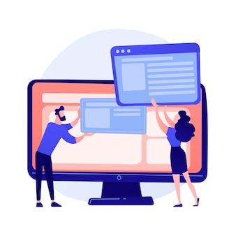 웹 사이트 인터페이스 개발 계획. 일하는 팀 플랫 캐릭터를 개발합니다. ui, ux, 콘텐츠 디자인. 컴퓨터 소프트웨어 생성 및 웹 개발 개념 그림