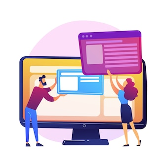웹 사이트 인터페이스 개발 계획. devops 팀 플랫 캐릭터가 작동합니다. ui, ux, 콘텐츠 디자인. 컴퓨터 소프트웨어 생성 및 웹 개발.
