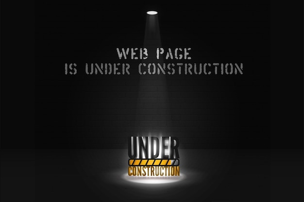 Website  is coming soon message with floodlight on scene. under construction alert in spotlights on black background. webpage dark banner of glowing text