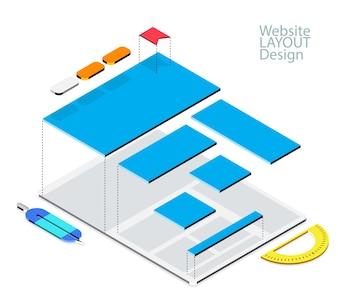 Website isometric wireframe mock-up concept