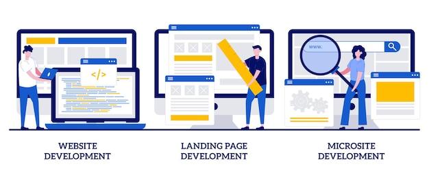 작은 사람들과 함께하는 웹사이트, 방문 페이지 및 마이크로사이트 개발 개념. 웹 페이지 프로그래밍 추상적인 벡터 일러스트 레이 션을 설정합니다. 프런트 엔드 및 백 엔드, 디자인 템플릿, 메뉴 모음, 사용자 경험 은유.