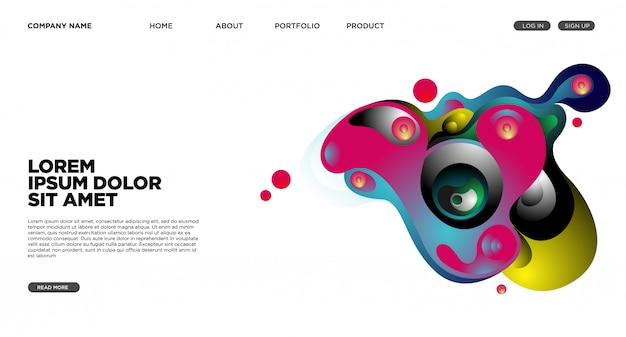 Website landing page background with abstract fluid