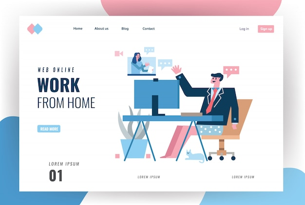 Website landing page. businessman wearing suits and shorts having video in the home office. home quarantine concept design. illustration