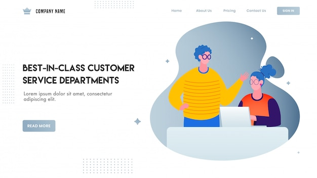 Website or landing page design, illustration of man talking to woman working on laptop for best in class customer service departments.