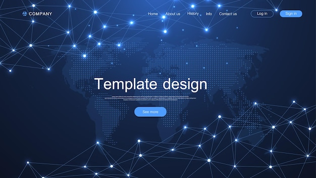 Website landing page design with asbtract scientific design