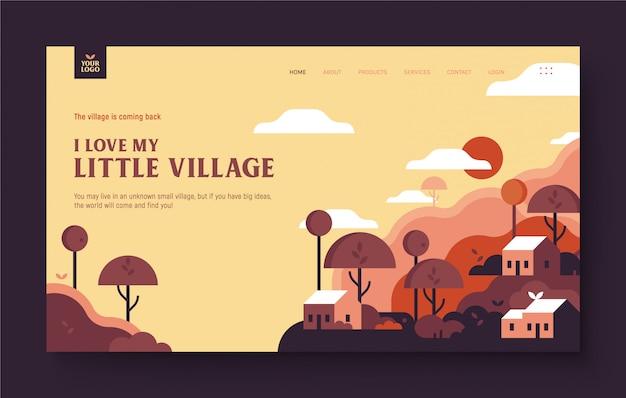 Сайт landing page для деревни, садоводства, природы, дома, ландшафта, дома, реального состояния. милая маленькая деревня с деревом, домом, холмом, облаком. современный плоский дизайн иллюстрации концепции для веб-сайта.